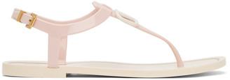 Valentino Pink Garavani Rubber VLogo Flat Sandals