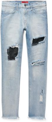 424 Skinny-Fit Embroidered Distressed Nubuck-Panelled Denim Jeans