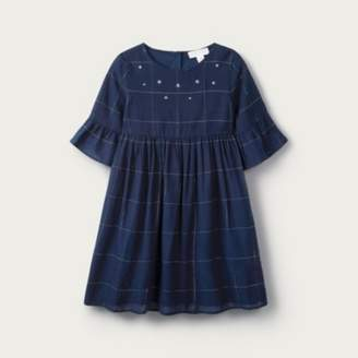 The White Company Sparkle Check Dress (1-6yrs), Navy, 2-3yrs