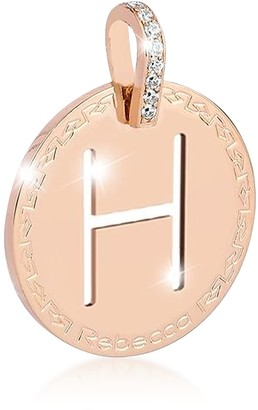 Rebecca Rose Gold-plated Bronze & Zirconia H Charm W/Rhodium-plated Necklace