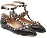 Valentino Rockstud Textured Leather Ballerinas