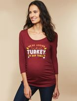 Screen Print 3/4 Sleeve Maternity T Shirt