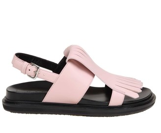 Marni Fussbett Sandal In Pink Calf Leather