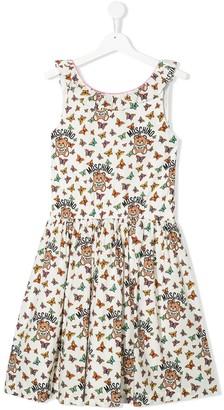 MOSCHINO BAMBINO TEEN sleeveless butterfly print dress