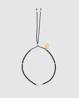 Arms Of Eve Petra Pearl & Black Glass Beaded Bracelet