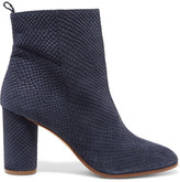 Maje Snake-effect suede ankle boots
