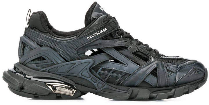 Balenciaga Leather Track Trainers in Black Blue Green