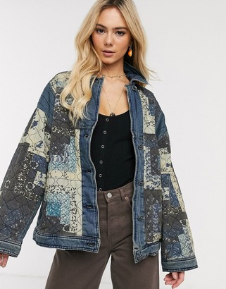 Free People pieced together jacket-Blue