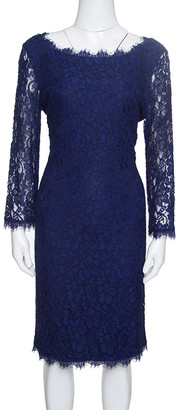 Diane von Furstenberg Navy Blue Zarita Lace Dress M