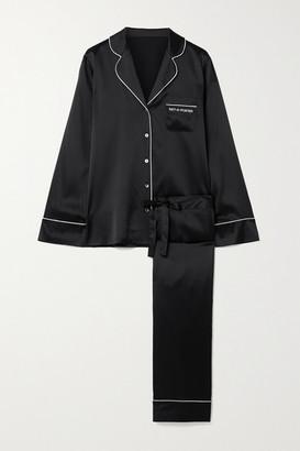 Journelle Net-a-porter Embroidered Silk-blend Satin Pajama Set