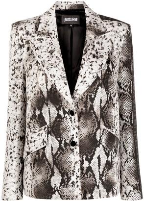Just Cavalli Snakeskin-Print Button-Front Blazer