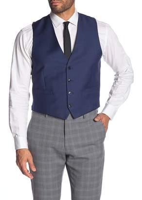 Calvin Klein Blue Twill Slim Fit Wool Suit Separate Vest