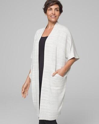 Soma Intimates Fleece Cocoon Wrap Black/IvorySpace Dye