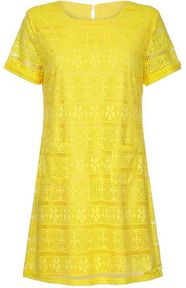 Yumi Crochet Lace Tunic Dress With Pocket