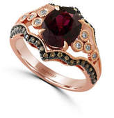 Effy 14K Rose Gold Ring with Rhodolite and 0.39 Total Carat Weight Diamonds