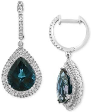 Effy London Blue Topaz (7-3/8 ct. t.w.) & Diamond (5/8 ct. t.w.) Drop Earrings in 14k White Gold