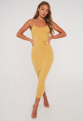Missguided Tan Rib Cami Belted Midi Dress