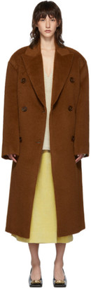 Acne Studios Brown Alpaca Double-Breasted Coat