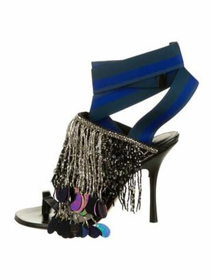 Dries Van Noten Leather Colorblock Pattern Sandals Black