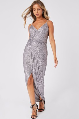 Girls On Film Prestige Silver Sequin Wrap Maxi Dress