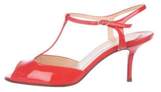 0587dc1da21 Patent Leather T-Strap Sandals Orange Patent Leather T-Strap Sandals