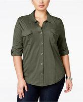 Style&Co. Style & Co. Plus Size Three-Quarter-Sleeve Utility Shirt