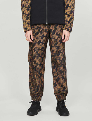 Fendi Logo-print tapered shell jogging bottoms