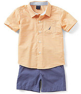 Nautica Baby Boys 12-24 Months Striped Woven Shirt & Solid Shorts Set