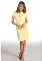 Lacoste S/S Stretch Pique Bi-Color Stripe Polo Dress (Primrose Yellow/White) - Apparel