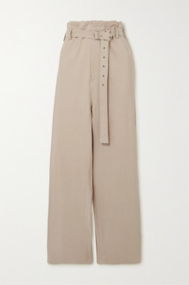 Low Classic Belted Woven Wide-leg Pants - Beige