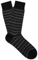 Pantherella Fulwell Patterned Merino Wool-blend Socks - Black