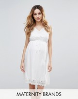 Mama Licious Mama.licious Mamalicious Woven Skater Dress With Crochet Trim