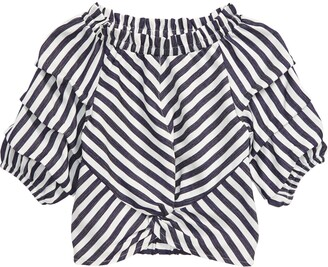 Habitual Ruched Sleeve Stripe Top
