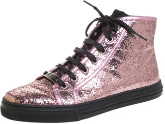 Gucci Metallic Pink Glitter Leather And Leather Trim California High Top Sneakers Size 38