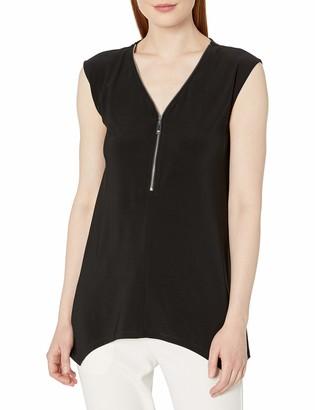 Chaus Women's Solid Knit Cap Sleeve Zipper Top