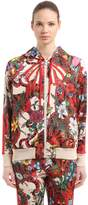 Gucci Hooded Floral Printed Jersey Sweatshirt