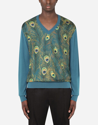 Dolce & Gabbana V-Neck Silk Sweater With Peacock-Print Panel