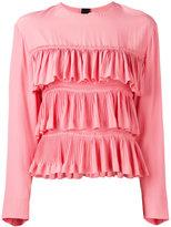 Marni ruffled long-sleeve blouse - women - Acetate/Silk - 44