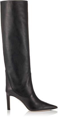 Jimmy Choo MAVIS 85 Black Smooth Leather Knee High Boots