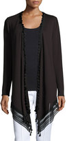 Elie Tahari Roseanna Long Lace-Hem Open Cardigan, Black