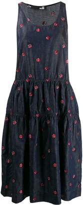 Love Moschino Ladybird embroidered denim midi dress