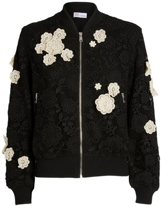 RED Valentino Floral Applique Bomber Jacket