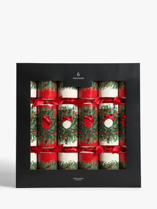 John Lewis & Partners Bloomsbury Wreath Christmas Crackers, Pack of 6, Multi