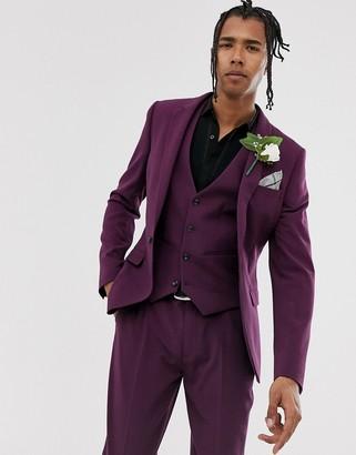 Asos Design DESIGN wedding super skinny suit jacket in purple