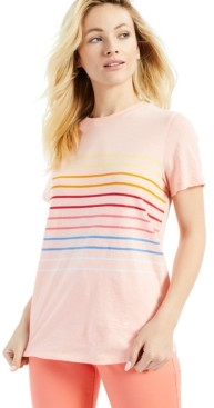 Style&Co. Style & Co Cotton Striped T-Shirt, Created for Macy's