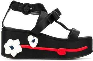 Prada Pre-Owned Flower Applique Flatform Shoes