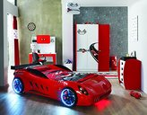 Titi Childrens RED Ferrari Shark Racing SuperCar Twin Bed With LED Lights +Sound (Shark Red)