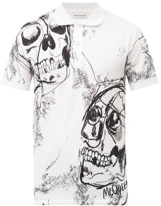 Alexander McQueen Skull-print Cotton-pique Polo Shirt - White