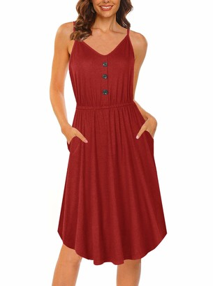 Moyabo Womes Sleeveless Button Down Casual Empire Waist Summer Dresses for Women Blue XX-Large