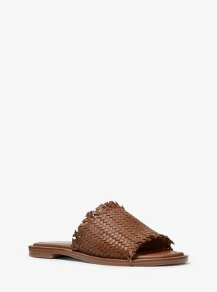 MICHAEL Michael Kors Dee Woven Leather Slide Sandal